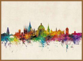 Large Oxford City Skyline (Wood Frame - Teak)