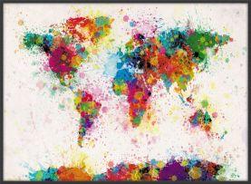 Large Paint Splashes Map of the World (Wood Frame - Black)