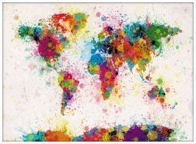 Large Paint Splashes Map of the World (Wood Frame - White)
