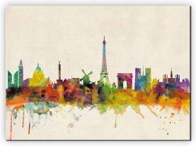 Extra Small Paris City Skyline (Canvas)