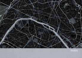 A4 Paris City Street Map Print Charcoal (Matt Art Paper)