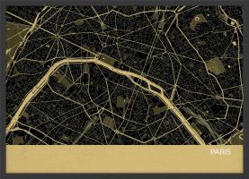 A4 Paris City Street Map Print Straw (Wood Frame - Black)