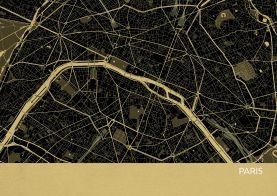 Paris City Street Map Print Straw