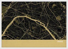 A4 Paris City Street Map Print Straw (Wood Frame - White)