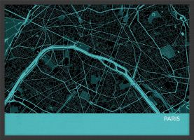A4 Paris City Street Map Print Turquoise (Wood Frame - Black)