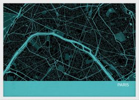 A4 Paris City Street Map Print Turquoise (Wood Frame - White)