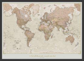 Medium Personalised Antique World Map (Pinboard & wood frame - Black)