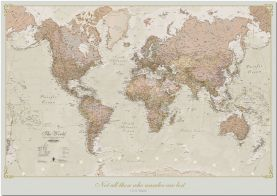 Huge Personalised Antique World Map (Pinboard)