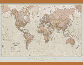 Medium Personalised Antique World Map (Wooden hanging bars)