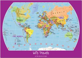 Large Personalised Child's World Map (Pinboard)