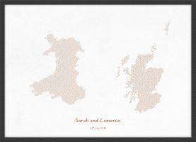 A3 Personalised Country Name Text Map Print - Burnt Orange (Wood Frame - Black)