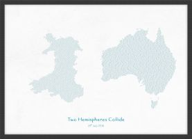 A3 Personalised Country Name Text Map Print - Petrol Blue (Wood Frame - Black)