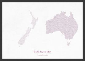 A3 Personalised Country Name Text Map Print - Plum (Wood Frame - Black)