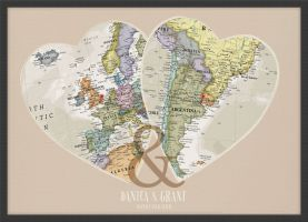 Personalised Location Map Hearts Print (Wood Frame - Black)