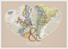 Personalised Location Map Hearts Print (Wood Frame - White)