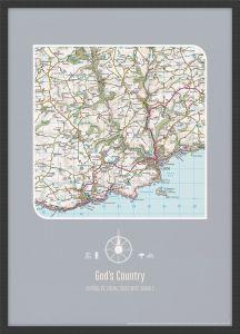 Personalised Postcode Map Print - Charcoal (Wood Frame - Black)