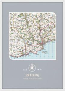 Personalised Postcode Map Print - Charcoal (Wood Frame - White)