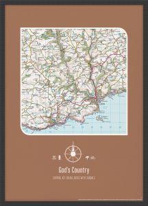 Personalised Postcode Map Print - Chocolate (Wood Frame - Black)