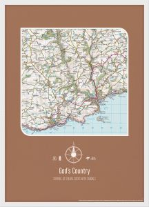 Personalised Postcode Map Print - Chocolate (Wood Frame - White)