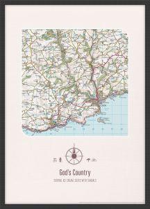 Personalised Postcode Map Print - Cream (Wood Frame - Black)