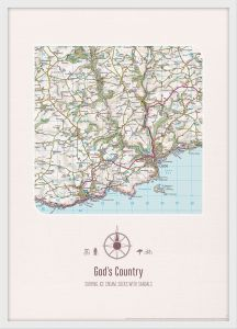 Personalised Postcode Map Print - Cream (Wood Frame - White)