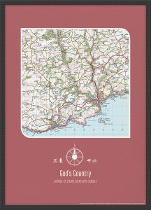 Personalised Postcode Map Print - Rosewood (Wood Frame - Black)