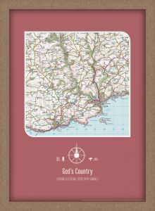 Personalised Postcode Map Print - Rosewood (Wood Frame - Oak Style)