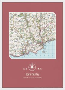 Personalised Postcode Map Print - Rosewood (Wood Frame - White)