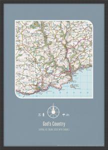 Personalised Postcode Map Print - Teal (Wood Frame - Black)