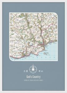Personalised Postcode Map Print - Teal (Wood Frame - White)