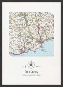 Personalised Postcode Map Print - White (Wood Frame - Black)
