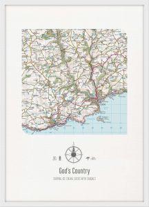 Personalised Postcode Map Print - White (Wood Frame - White)