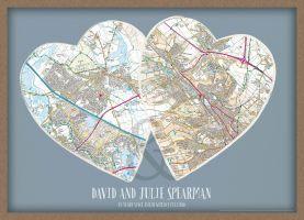 Personalised Postcodes Couples Print (Wood Frame - Oak Style)