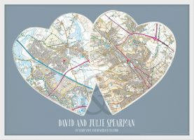 Personalised Postcodes Couples Print (Wood Frame - White)