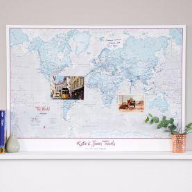 Personalised World Is Art - Wall Map Aqua