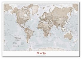 Small Personalised World Is Art - Wall Map Neutral (Canvas)