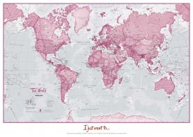 Personalised World Is Art - Wall Map Pink