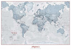 Huge Personalised World Is Art - Wall Map Teal (Paper)