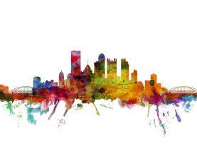 Pittsburgh Pennsylvania Watercolour Skyline