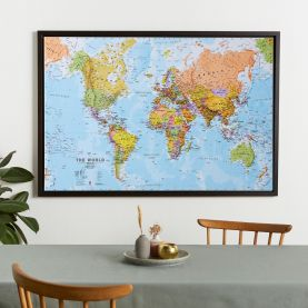 Large World Wall Map Political (Canvas Floater Frame - Black)