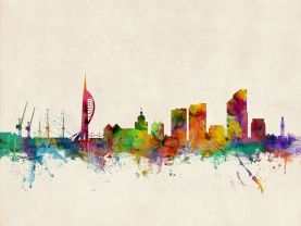 Portsmouth England Watercolour Skyline