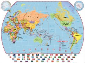 Large Primary Pacific Centred World Wall Map Political with flags (Pinboard)