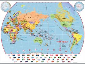 Large Primary Pacific Centred World Wall Map Political with flags (Hanging bars)