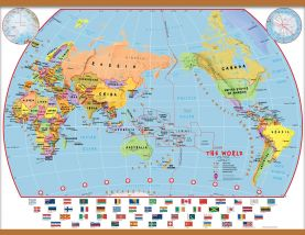 Large Primary Pacific Centred World Wall Map Political with flags (Wooden hanging bars)