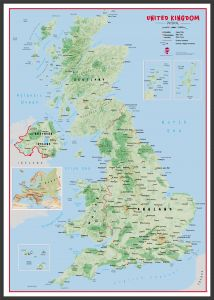 Large Primary UK Wall Map Physical (Wood Frame - Black)