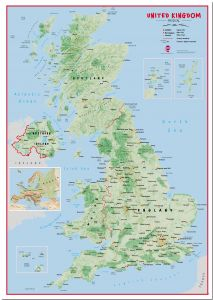 Large Primary UK Wall Map Physical (Pinboard)