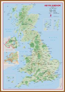 Large Primary UK Wall Map Physical (Wood Frame - Teak)