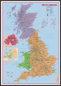 Large Primary UK Wall Map Political (Pinboard & wood frame - Black)