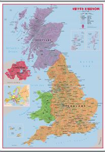 Large Primary UK Wall Map Political (Hanging bars)
