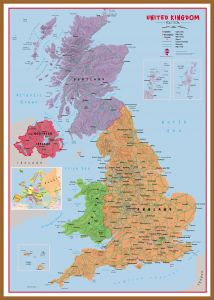 Large Primary UK Wall Map Political (Pinboard & wood frame - Teak)